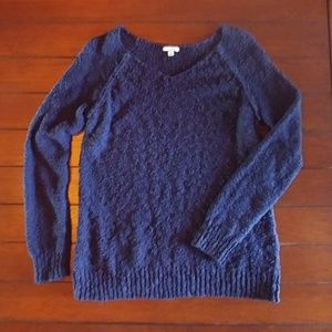 Navy Blue Large Loop Knit Sweater